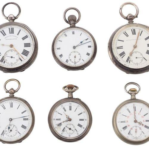 """Six montres de poche anglaises et suisses """"open face"""" avec boîtier en argent poi…"""