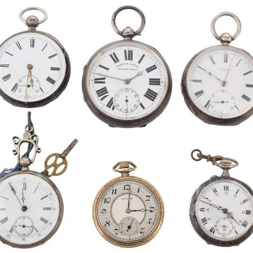 """Six English and Swiss """"open face"""" pocket watches with punched silver case and gu…"""