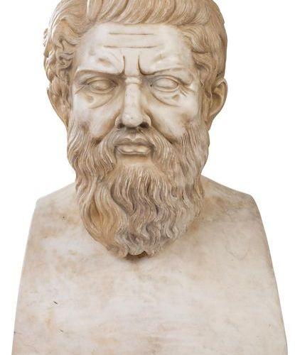 Grand buste en marbre du philosophe grec Platon Fns. XIX Ppios. 20E SIÈCLE. 60 x…