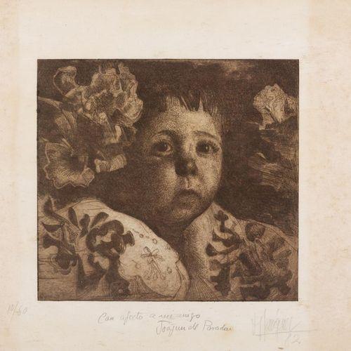 JOSÉ MÁRQUEZ ALCALÁ (Arcos de la Frontera, Cádiz, 1937) Ritratto di bambino Inci…