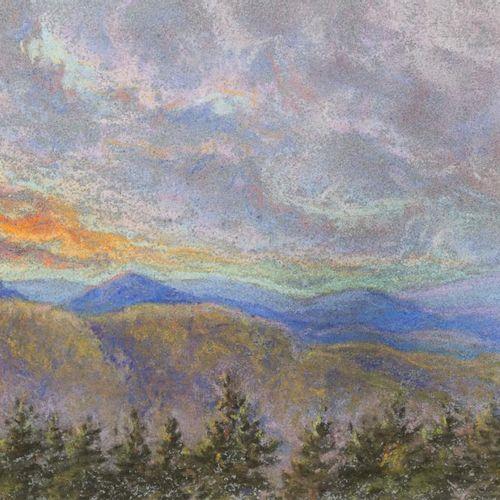 ESCUELA EUROPEA, S. XX Paesaggio di montagna Disegno a pastello su carta 16 x 29…