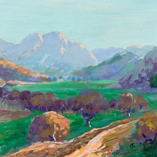 ANTÓN ECHÉVARRI (Vizcaya, 1911) Paesaggio Olio su táblex 26,5 x 34 cm Firmato e …