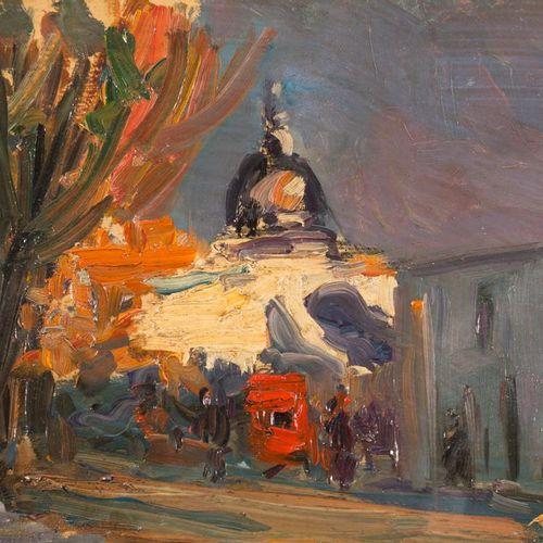 ESCUELA ESPAÑOLA, S. XX Veduta della città con cupola Olio su tavola 18 x 29 cm