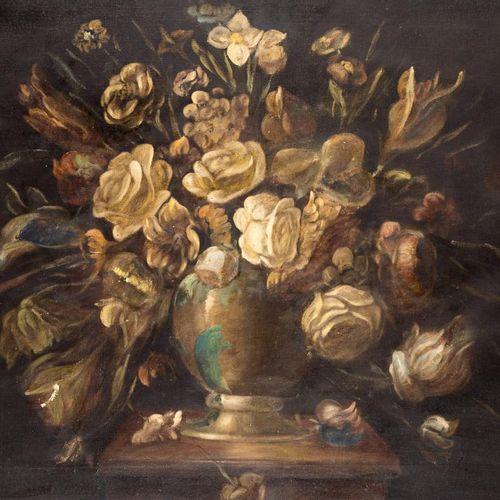 ESCUELA ESPAÑOLA, S. XX Natura morta con fiori Olio su tela 56 x 84 cm