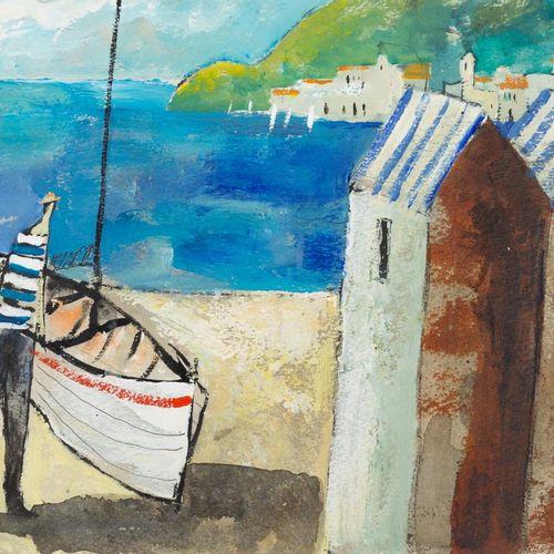 ESCUELA FRANCESA S. XX Sailor on the Beach Acrilico su cartone 25 x 35 cm Firmat…