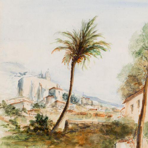 JOSÉ ARPA PEREA (Carmona, 1858 Sevilla, 1952) Paesaggio con vista urbana Acquere…