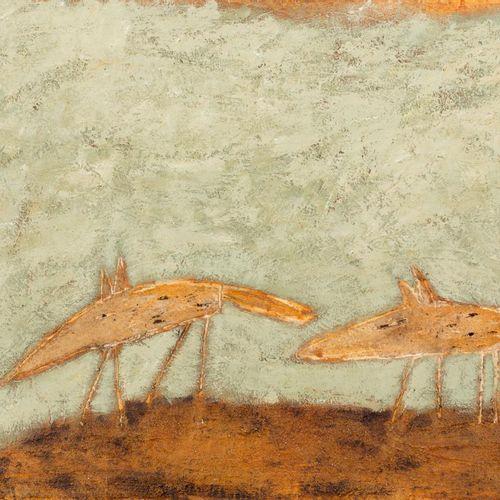 ANTONI CAMARASA (Santalinya, Lérida, 1957) Doggies in the garden mixed media on …