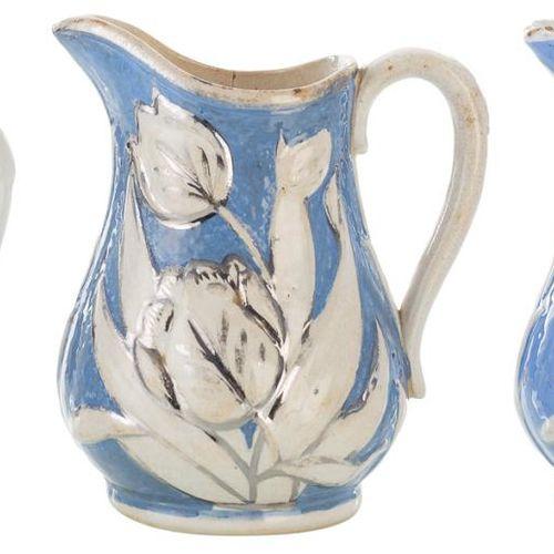 Set composto da tre piccoli vasi di James Dudson in blu e argento su ceramica sm…