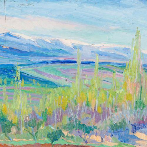 JULIÁN GÓMEZ FRAILE (1902 1976) Paesaggio Olio su tavola 24 x 29,5 cm Firmato e …