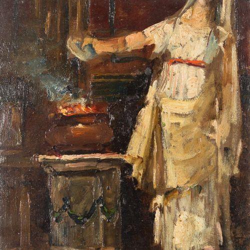 ESCUELA ESPAÑOLA, S. XX Priestess stoking the fire Olio su pannello 35 x 25 cm S…