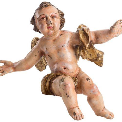 ESCUELA ESPAÑOLA S. XVIII Coppia di angeli Legno intagliato, dorato e policromat…