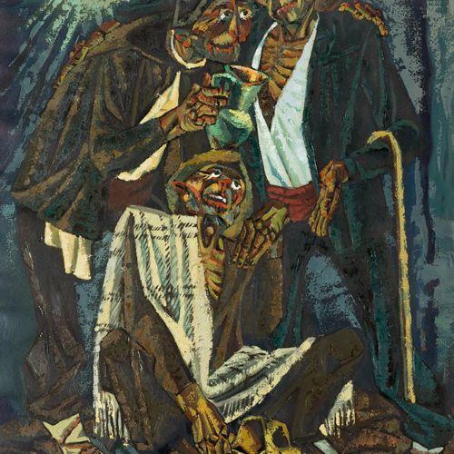 JESÚS VILLAR (Segura de la Sierra, 1930) Tre contadini Olio su carta 65 x 49 cm …