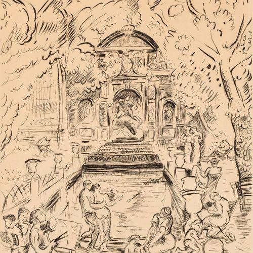 OTHON FRIESZ (Le Havre, Francia, 1879 París, 1949) Fontana di Marie de Medici. G…