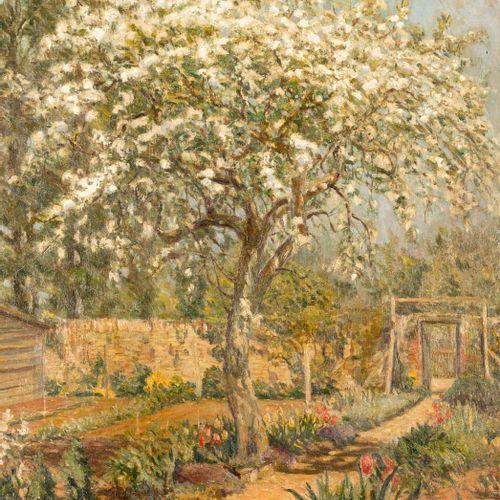 ESCUELA ESPAÑOLA, S. XX Paesaggio con mandorlo Olio su tela 60 x 50 cm