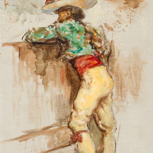 ANTONIO RODRÍGUEZ ALMANSA Picador Olio su tela 28 x 23 cm Firmato in basso a des…