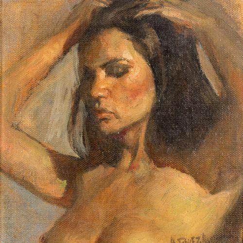 ANTONIO RODRÍGUEZ ALMANSA Nudo femminile Olio su tela 20 x 19 cm Firmato in bass…