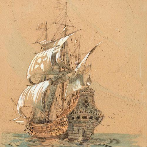 MANUEL CORRALES EGEA (Santa Cruz de Tenerife, 1910 Vigo, 1985) Fragata Acquerell…