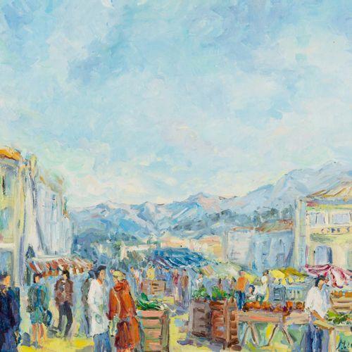 MONTSERRAT LUQUE (S. XX) Scena di mercato Olio su tela 60 x 73 cm Firmato in bas…