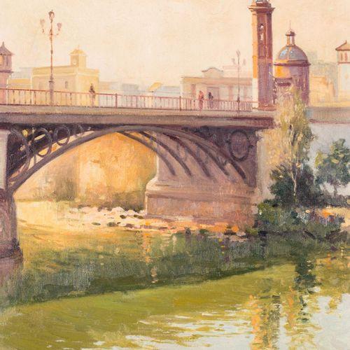 JOSÉ MARTÍNEZ RECACHA (Alcalá de Guadaíra, 1946) Puente de Triana Olio su tela 6…