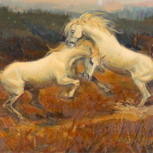 ESCUELA ESPAÑOLA, S. XX Cavalli Olio su tela 50 x 62 cm Firmato in basso a destr…