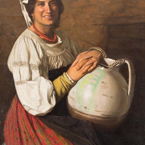 GUSTAVO GALLARDO RUIZ (Sevilla, 1891 1971) Donna napoletana con brocca Olio su t…