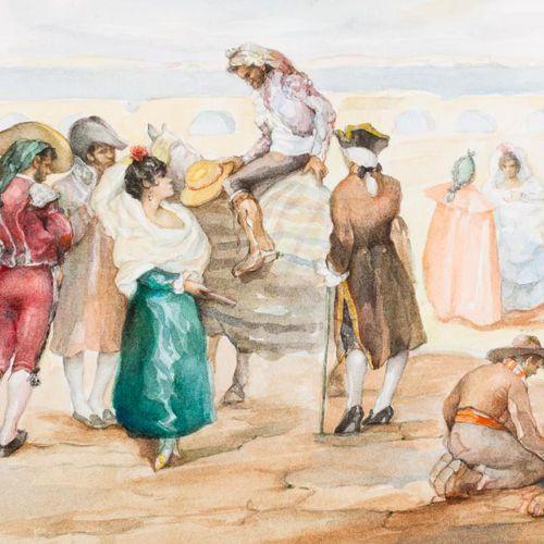 ANTONIO RODRÍGUEZ ALMANSA Goyaesque scene Acquerello su carta 25 x 35,5 cm Firma…