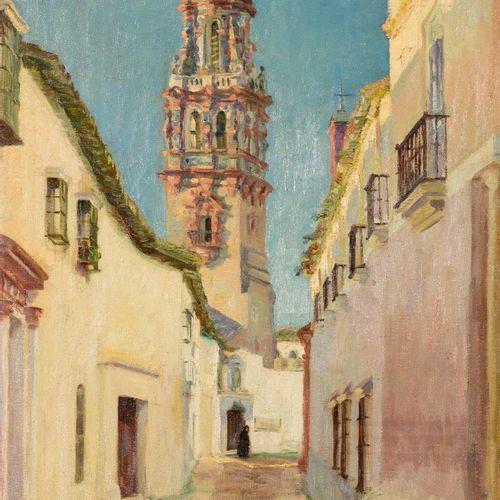 ALFONSO GROSSO (Sevilla, 1893 1983) Street of Ecija Olio su tela 72 x 53 cm Firm…