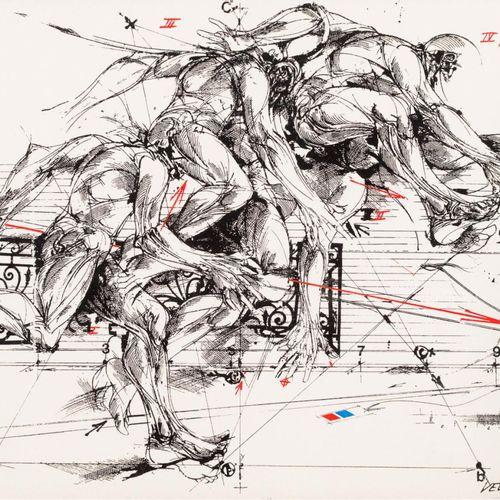 "VLADIMIR VELICKOVIC (1935 20219) ""Quattro stati di salto"". Litografia 22 x 32 cm…"