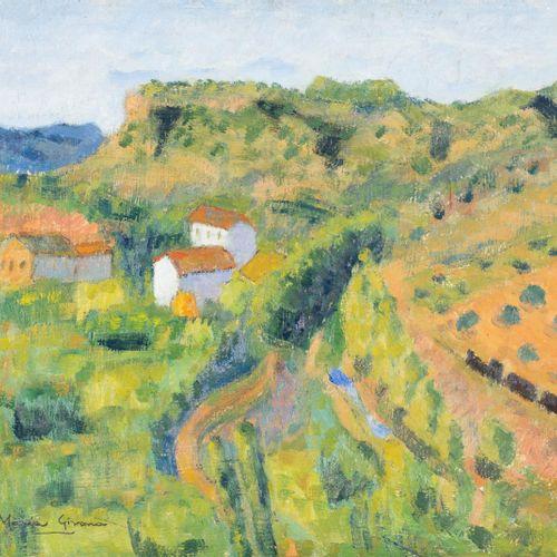 MARIA GIRONA BENET (Barcelona, 1923 2015) Il treno Olio su tela 45,5 x 55 cm Fir…