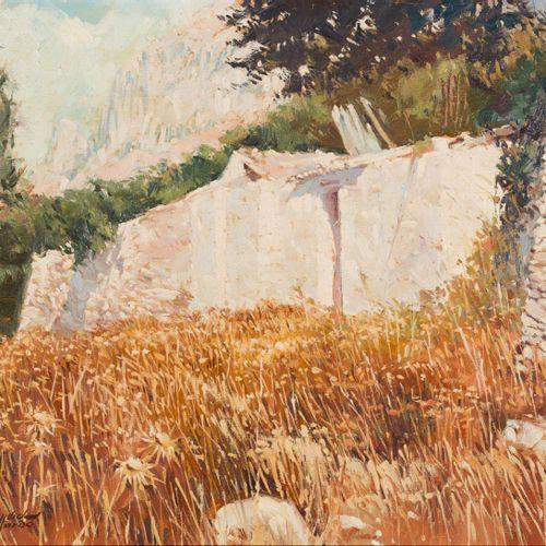 JOSÉ SÁNCHEZ GALLARDO (Málaga, 1926 2003) Paesaggio rurale Olio su tela 39 x 46 …