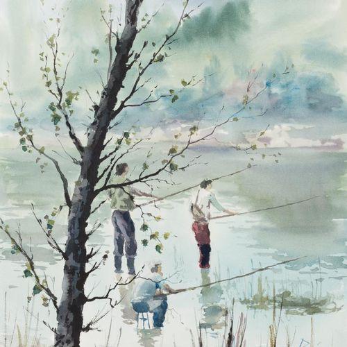 MANUEL REJANO (Ceuta, 1929 1994) Pescatori Acquerello su carta 50 x 35 cm Firmat…