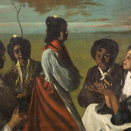 ATRIBUIDO A BALDOMERO ROMERO RESSENDI (1922 1977) Festa fiamminga Olio su tela 9…