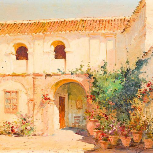 MANUEL FERNÁNDEZ (Carmona, Sevilla, 1927) Il cortile Olio su tavola 30 x 40 cm F…