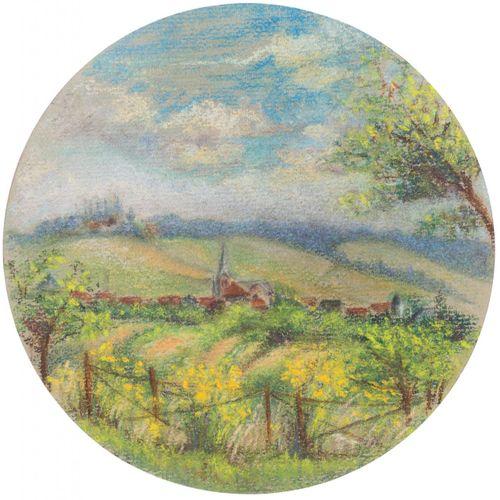 ESCUELA EUROPEA, S. XX Paesaggio rurale Disegno a pastello su carta 18 cm di dia…