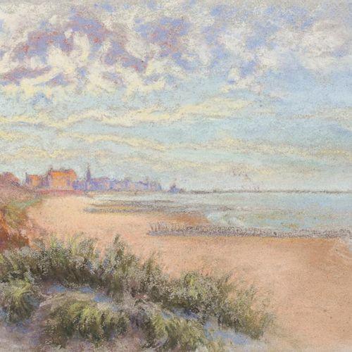 ESCUELA EUROPEA, S. XX Paesaggio costiero Disegno a pastello su carta 18 x 31 cm