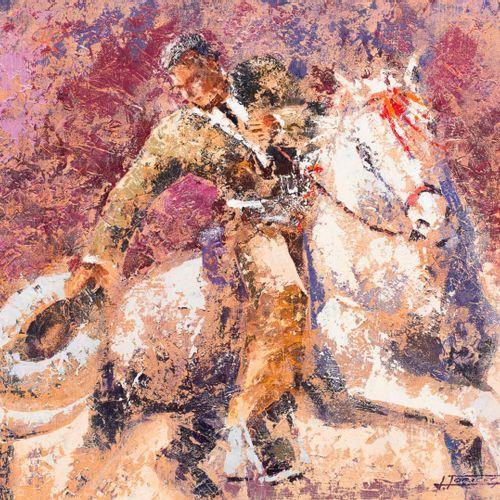 Javier Torices (Madrid, 1968) Scena di corrida Olio su tela 46 x 55 cm Firmato i…