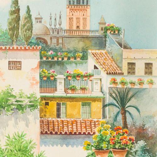 JOSÉ MÁRQUEZ MONTERO (Córdoba) Vedute di Siviglia Acquerello su carta 29,5 x 16,…