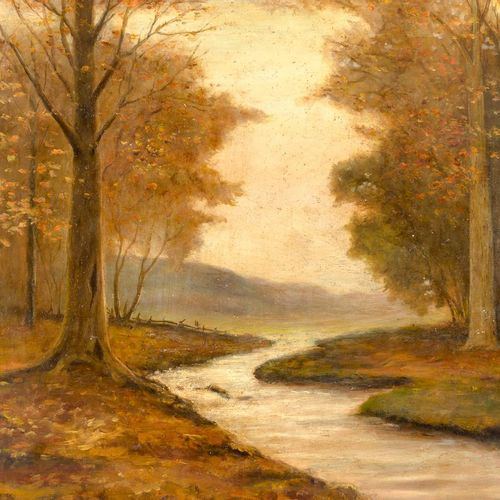 ESCUELA EUROPEA, S. XX Paesaggio con sentiero Olio su tavola 60 x 80 cm