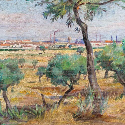 AMÉRICO DA SILVA MARINHO (Barreiro, 1913 1997) Paesaggio con vista urbana Olio s…