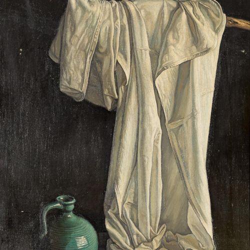 ESCUELA ESPAÑOLA, S. XX The Cloth Olio su tela 100 x 65 cm Firmato.