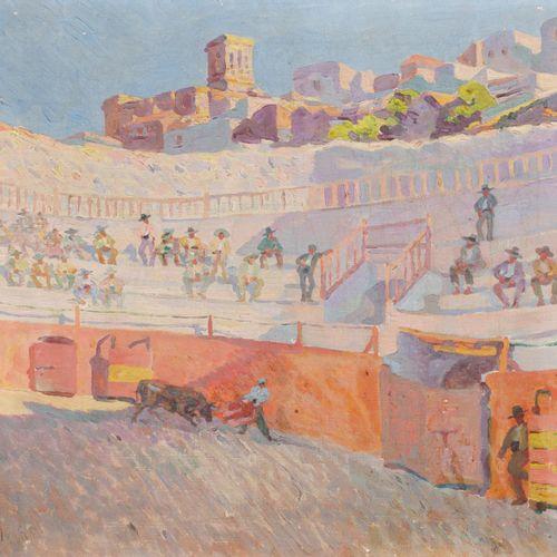 FRANCISCO PRIETO (Valladolid, 1884 1967) Bullring Olio su tela 84 x 90 cm Firmat…