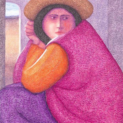 ERNESTO GUTIÉRREZ Signora con cappello Acrilico su tela 73 x 60 cm Firmato in ba…
