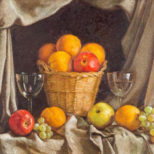RAFAEL CANTARERO (Sevilla, 1907 1957) Natura morta con cesto e frutta Olio su te…