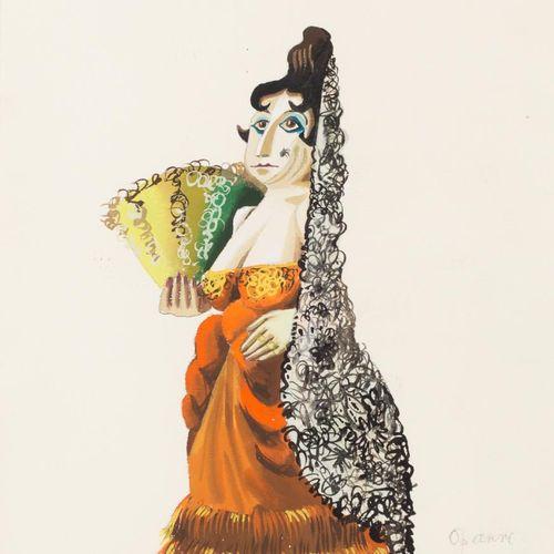 ESCUELA ESPAÑOLA, S. XX Mujer con mantilla Acquerello su carta 35,5 x 24,5 cm Fi…
