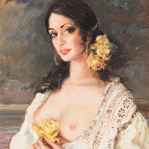 VIRGILIO GALÁN ROMÁN (Málaga, 1931 2001) Ritratto femminile Olio su tela 55 x 46…