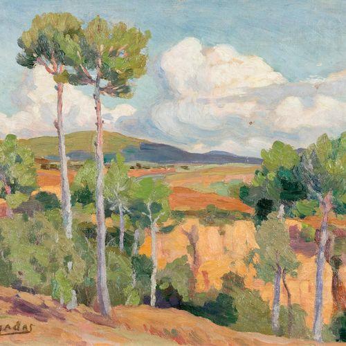 MIQUEL PUJADAS i BADIA (Terrassa, 1892 1974) Paesaggio Olio su tela incollata su…