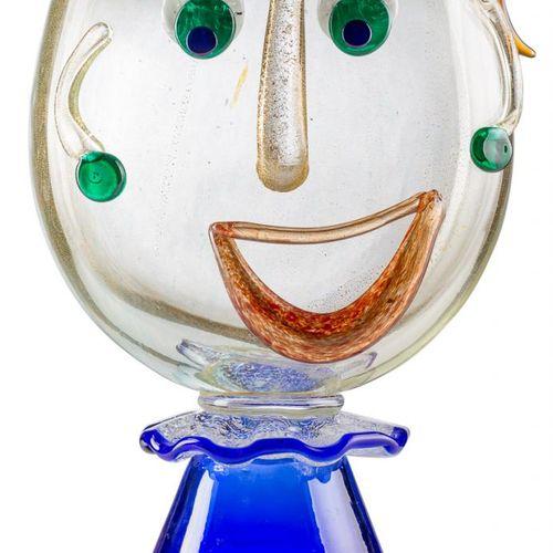 STEFANO TOSO (1958) Vaso faccia Scultura in vetro di Murano policromo 44 x 15 x …