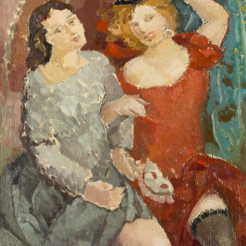 RAFAEL ORTEGA HEREDIA (1901) Masks Olio su plexiglass 48 x 40 cm Firmato in bass…