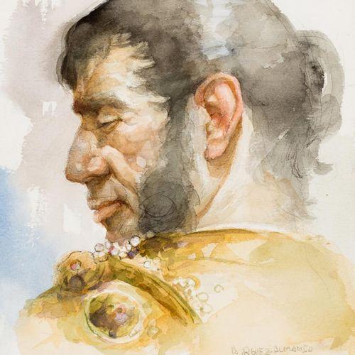 ANTONIO RODRÍGUEZ ALMANSA Picador Acquerello su carta 24,5 x 19 cm Firmato in ba…