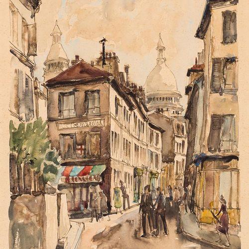 PIERRE EUGÈNE CAMBIER (Francia, 1914 2000) Vista di Montmartre Acquerello su car…